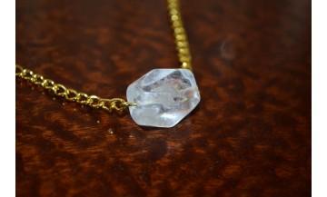 Kristal Kuvars Zincirli Sarı Kolye