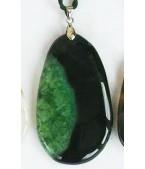 Yeşil Siyah Akik Ebru Kolye