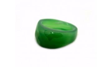 Yeşil Akik Fasetalı Taş Yüzük
